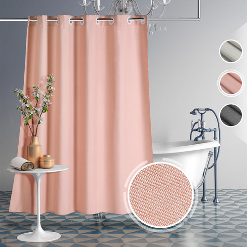 CozyHook Single Layer Linen-like Hookless Shower Curtain | Pink