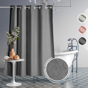 Lagute CozyHooK Heavy Duty Linen-like Shower Curtain, No Hooks Needed, Water Repellent, Weighted Hem & 240 GSM Fabric, Hotel Grade Bath Curtain, Dark Grey