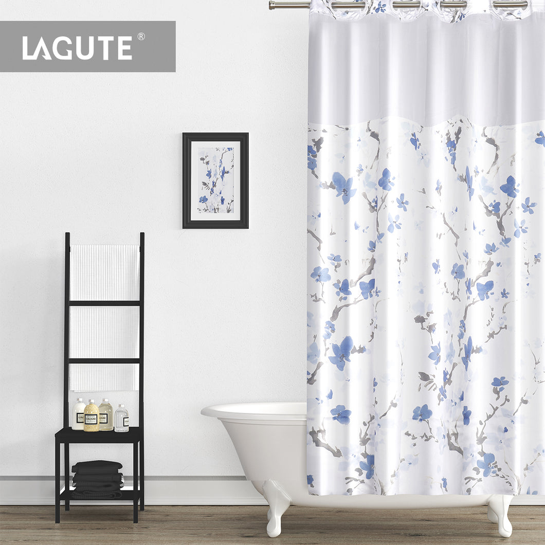 Lagute-Hookless-Shower-Curtain-Blue-Blossom-1