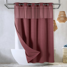 SnapHook Waffle Weave Fabric Hook Free Shower Curtain with Snap-in Liner, Heavy Duty Bath Curtain with See Through Top, Hotel Grade, Water Repellent, Machine Washable