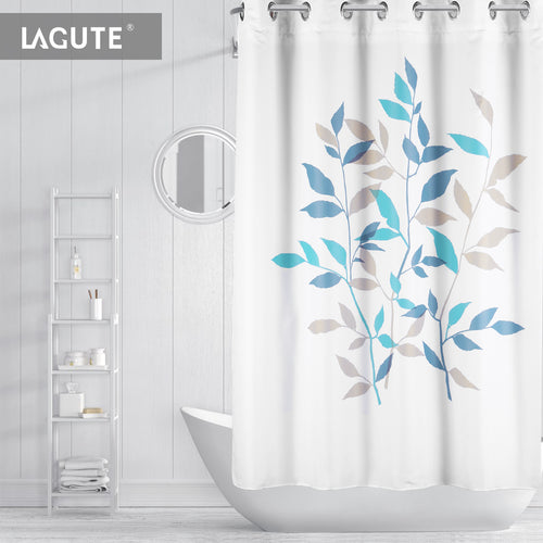 Lagute SnapHook Nature Hookless Shower Curtain, Blue Leaves