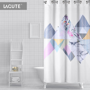 Lagute SnapHook Nature Hookless Shower Curtain, Gray Flamingo