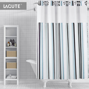 Lagute SnapHook Stijl Hookless Shower Curtain Blue Stripes