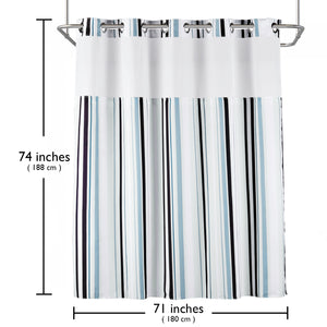 "Lagute SnapHook Stijl Hookless Shower Curtain 74"" (L) x 71"" (W)"