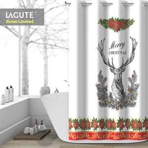 Lagute SnapHook Christmas Hookless Shower Curtain, 74 in (L) x 71 in (W) | Removable PEVA Liner | Heavy Weight Thicker Liner | Machine Washable | Merry Christmas Deer