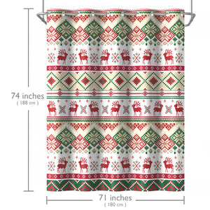 Lagute SnapHook Christmas Hookless Shower Curtain, 74 in (L) x 71 in (W) | Removable PEVA Liner | Heavy Weight Thicker Liner | Machine Washable | Green Mosaic Deer