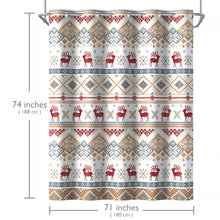 Lagute SnapHook Christmas Hookless Shower Curtain, 74 in (L) x 71 in (W) | Removable PEVA Liner | Heavy Weight Thicker Liner | Machine Washable | Blue Mosaic Deer