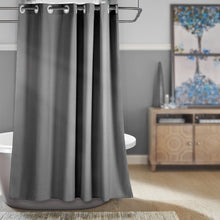 CozyHook Single Layer Linen-like Hookless Shower Curtain | Dark Grey
