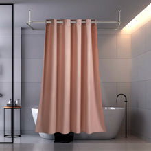 Lagute CozyHooK Heavy Duty Linen-like Shower Curtain, No Hooks Needed, Water Repellent, Weighted Hem & 240 GSM Fabric, Hotel Grade Bath Curtain, Pink