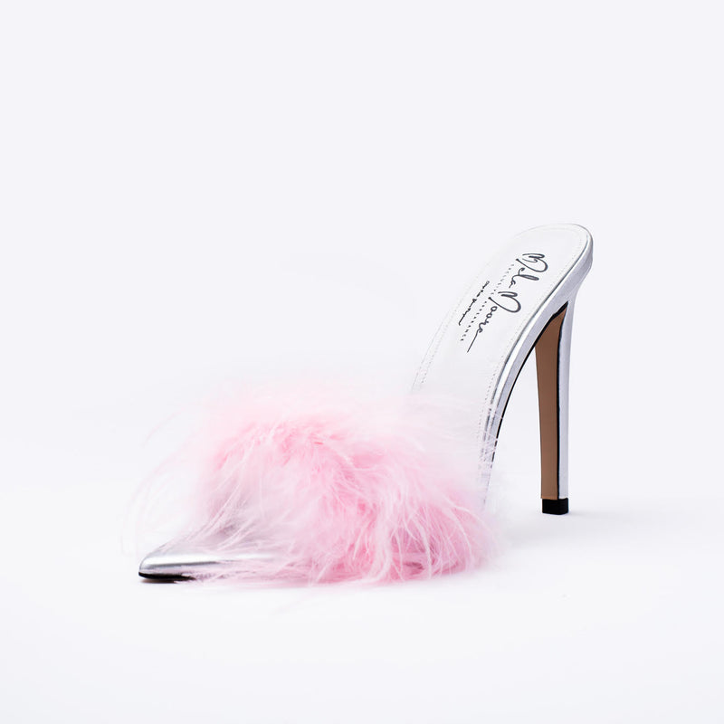"""As If"" Pink Ostrich Feather Slipper Heels"