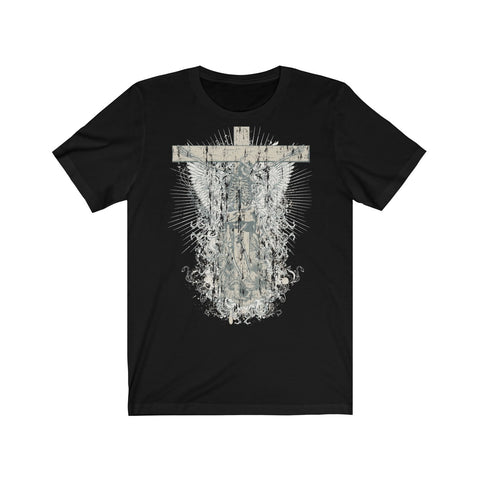Skeleton on Cross Unisex Jersey Short Sleeve Tee