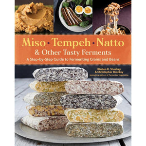 Book cover of the  Miso, tempeh, natto & other tasty ferments