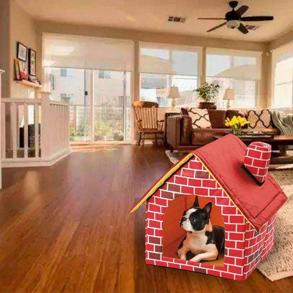 Red Brick Padded Portable Doghouse - FarmCityPets