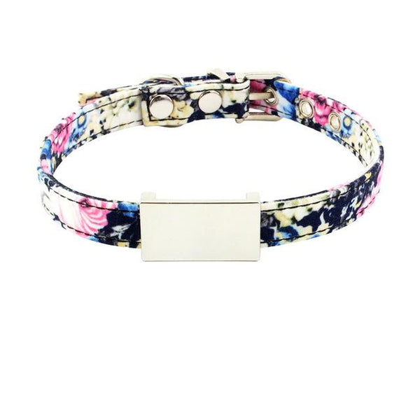 Sweet Floral ID Nameplate Collar - FarmCityPets