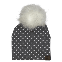 Load image into Gallery viewer, West Coast Zippies  Hearts Cotton Printed Pompom Toques