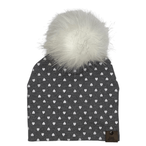 West Coast Zippies  Hearts Cotton Printed Pompom Toques
