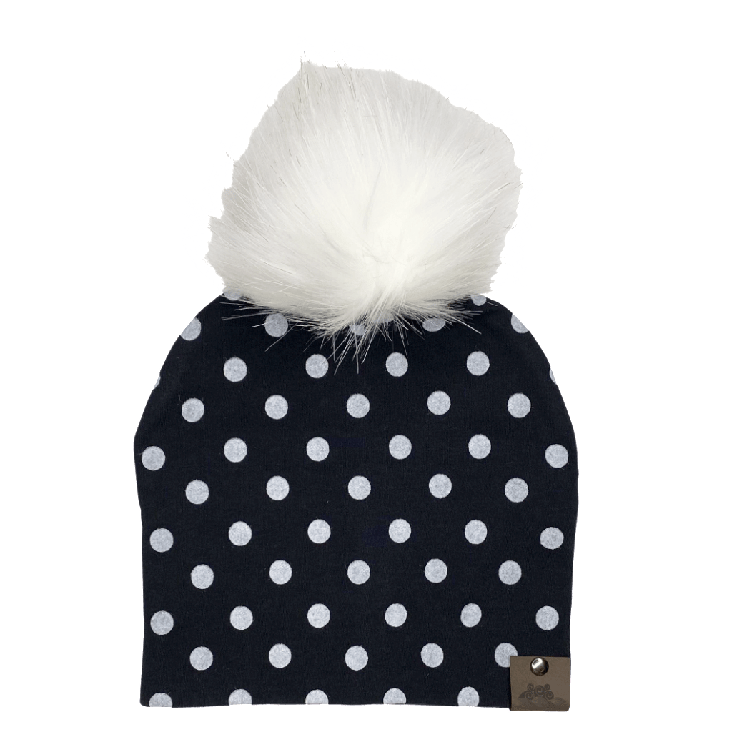 West Coast Zippies  Polka Dots Cotton Printed Pompom Toques