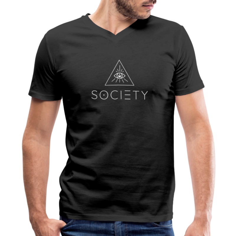 SOCIETY - Men's V-Neck T-Shirt - black
