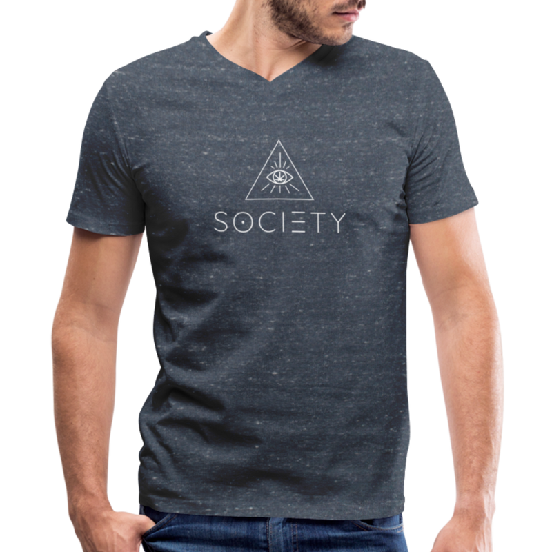 SOCIETY - Men's V-Neck T-Shirt - heather navy