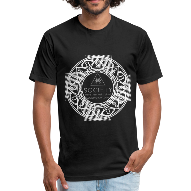 Mandala + More than just a plant on BACK Fitted Cotton/Poly T-Shirt by Next Level - black
