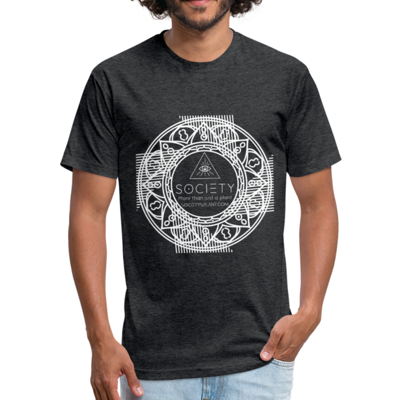 Mandala + More than just a plant on BACK Fitted Cotton/Poly T-Shirt by Next Level - heather black
