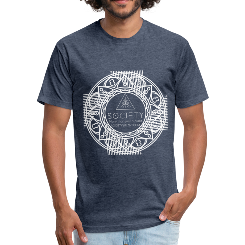 Mandala + More than just a plant on BACK Fitted Cotton/Poly T-Shirt by Next Level - heather navy