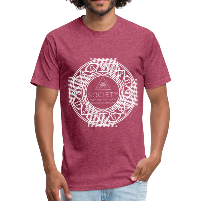 Mandala + More than just a plant on BACK Fitted Cotton/Poly T-Shirt by Next Level - heather burgundy