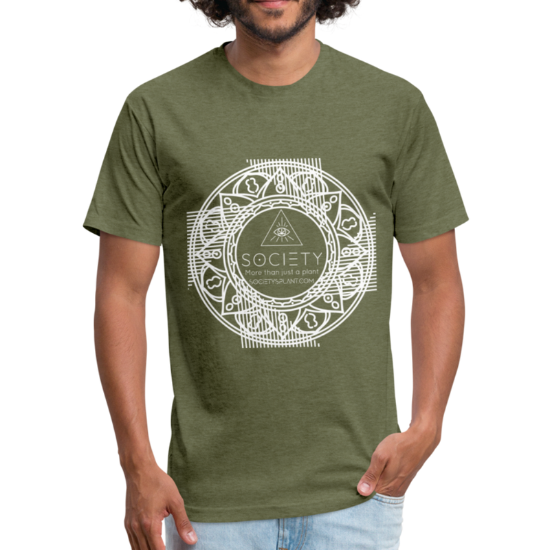 Mandala + More than just a plant on BACK Fitted Cotton/Poly T-Shirt by Next Level - heather military green