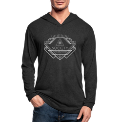 Society Geometric Arrow Hoodie Shirt Unisex Tri-Blend - heather black