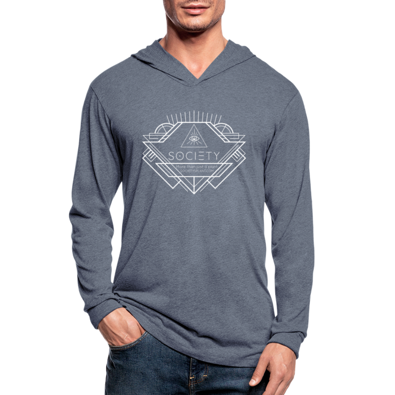 Society Geometric Arrow Hoodie Shirt Unisex Tri-Blend - heather blue