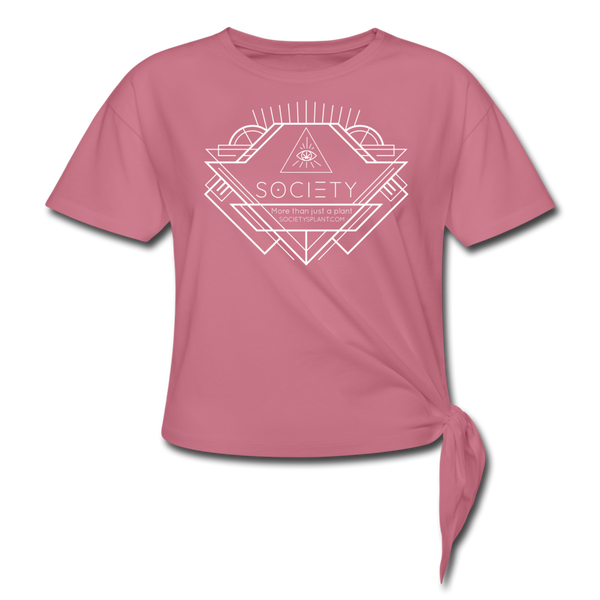 Society Geo Arrow Women's Knotted T-Shirt - mauve