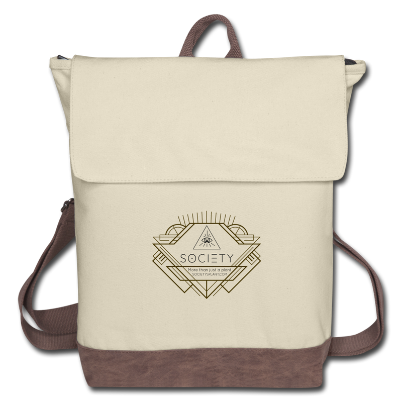 Society Geo Arrow Canvas Backpack - ivory/brown