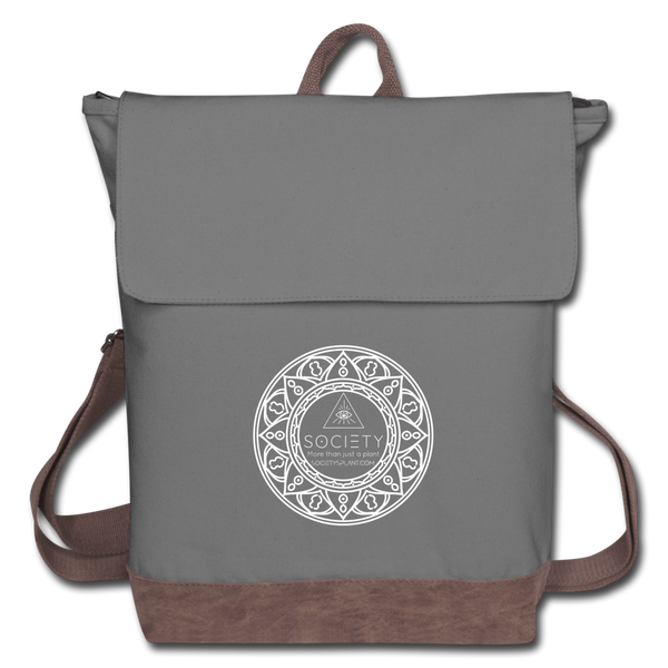 Society Mandala Canvas Backpack Bag - gray/brown