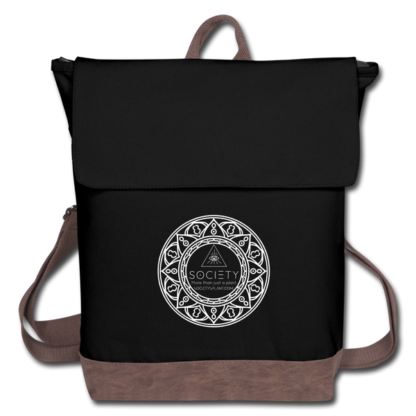 Society Mandala Canvas Backpack Bag - black/brown
