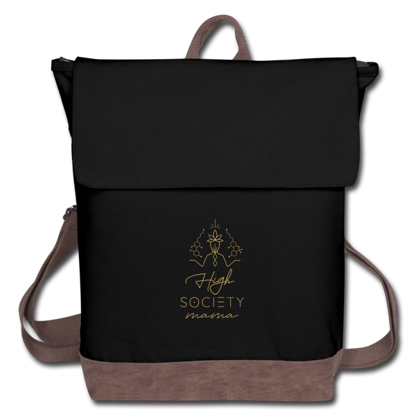 High Society Mama BALANCED Black Canvas Backpack - black/brown