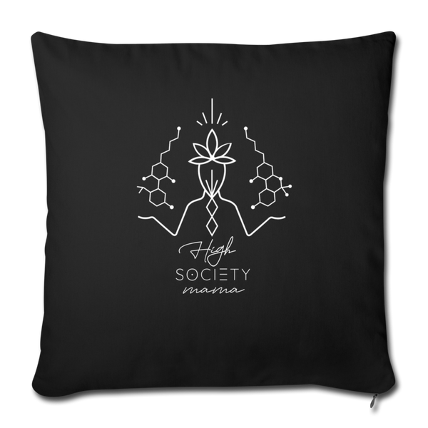 "Balanced CBD - THC - Throw Pillow Cover 18"" x 18"" - black"