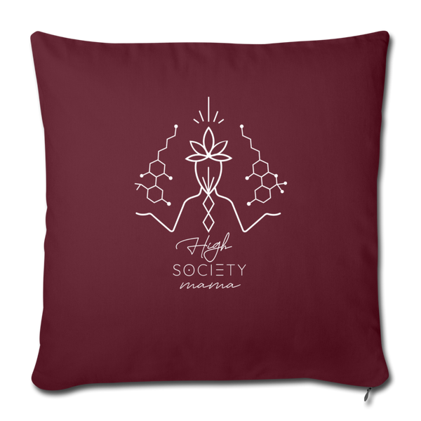 "Balanced CBD - THC - Throw Pillow Cover 18"" x 18"" - burgundy"