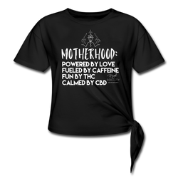 Motherhood Powered by Love Knotted T-Shirt - black