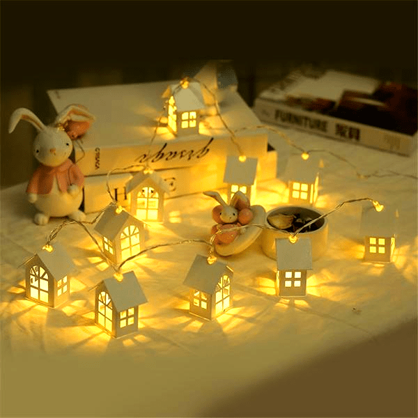 LED Christmas House Fairy Lights - 1.5M/5FT (10 Houses)