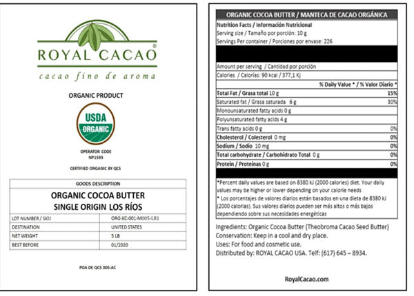 Final Approval on Our Royal Cacao Product Labels