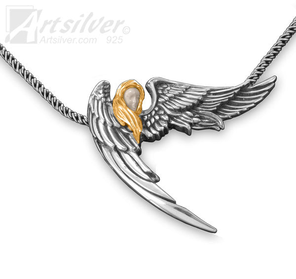 Silver Angel Wing Pendant - KS 116