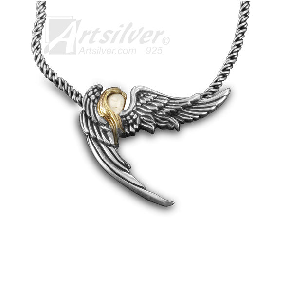 Silver Angel Wing Pendant - KS 507