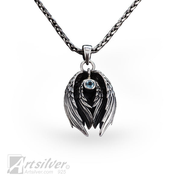 Silver Angel Wing Pendant - KS 582