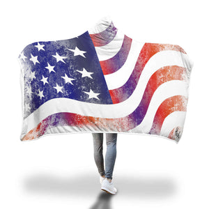 Distressed USA Hooded Blanket