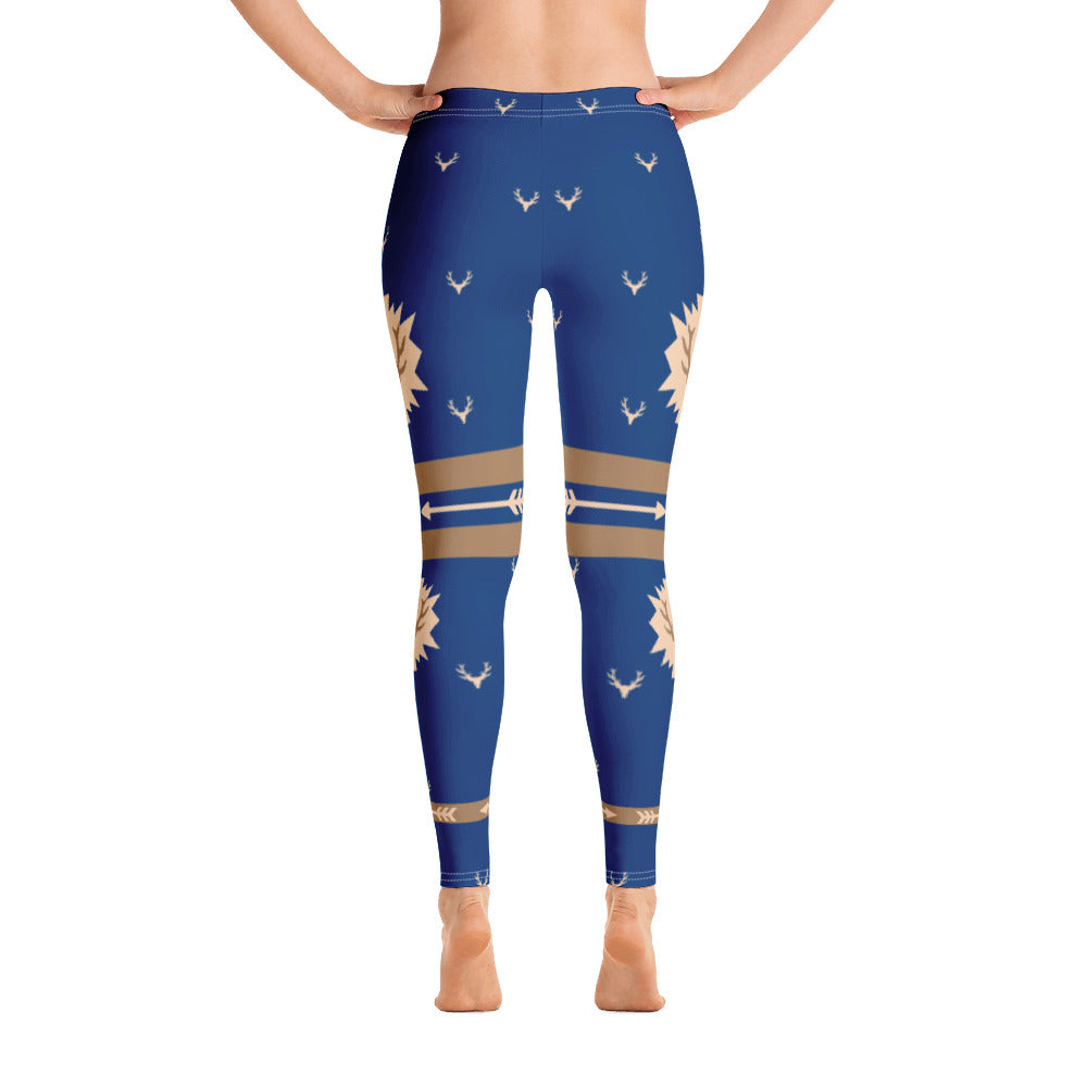 Elk Print Blue Leggings