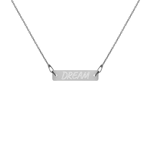Dream Engraved Silver Bar Chain Necklace Black Rhodium