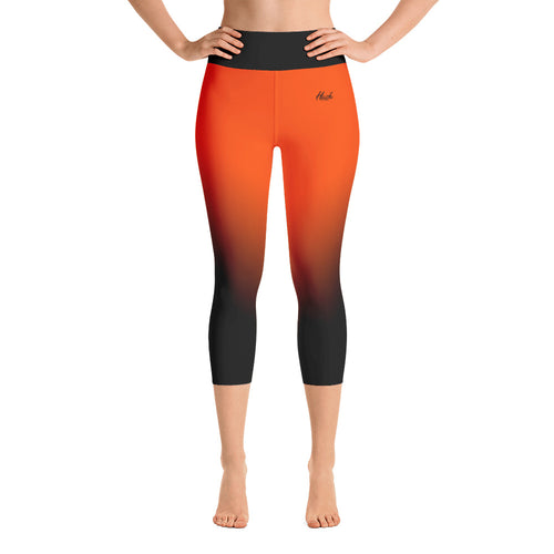 Orange Ombre Yoga Capri Leggings Front