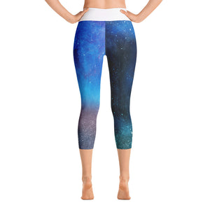 Blue Scuff Yoga Capri Leggings Back