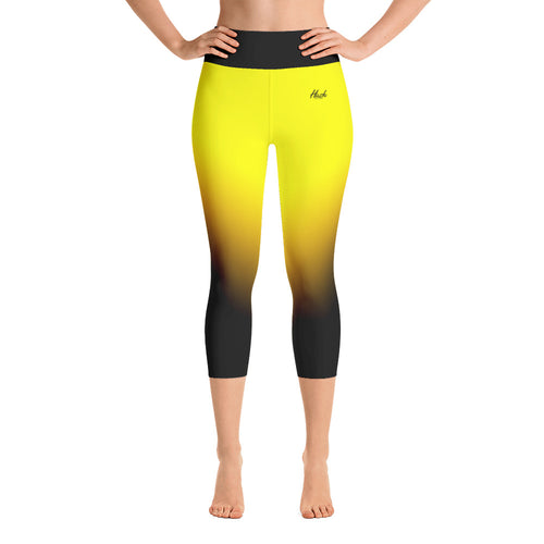 Hush Attire Yellow Ombre Yoga Capri Leggings Front