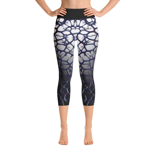Purple Thorn Yoga Capri Leggings Front